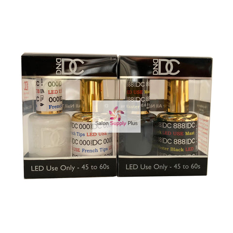 000 & 888 - DND DC GEL - FRENCH TIPS & MASTER BLACK  (SOLID WHITE & BLACK)
