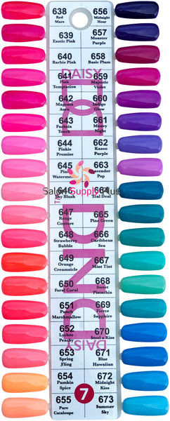 0007 - DND DUO GEL DUO SET  - COLOR CHART #7 SET (36 COLORS)