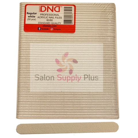 DND - 80/80 WHITE ACRYLIC NAIL FILE - PACK OF 50