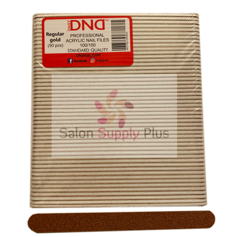 DND - 100/100 REGULAR GOLD NAIL FILE - PACK OF 50 - CC013