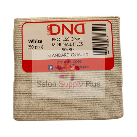 DND - 80/80  MINI WHITE NAIL FILE - PACK OF 50 - C0018