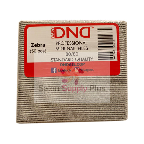 DND - 80/80  MINI ZEBRA NAIL FILE - PACK OF 50 - C0019