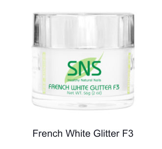 SNS - DIP POWDER - FRENCH WHITE GLITTER F3 - 2 OZ