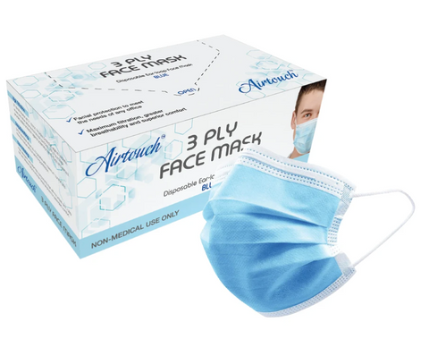 AIRTOUCH 3 PLY DISPOSABLE FACE MASK - 50 COUNT BOX
