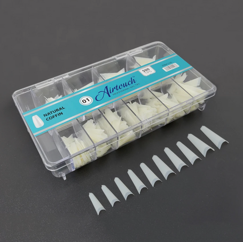 AIRTOUCH NAIL TIPS - NATURAL COFFIN - BOX OF 500 TIPS