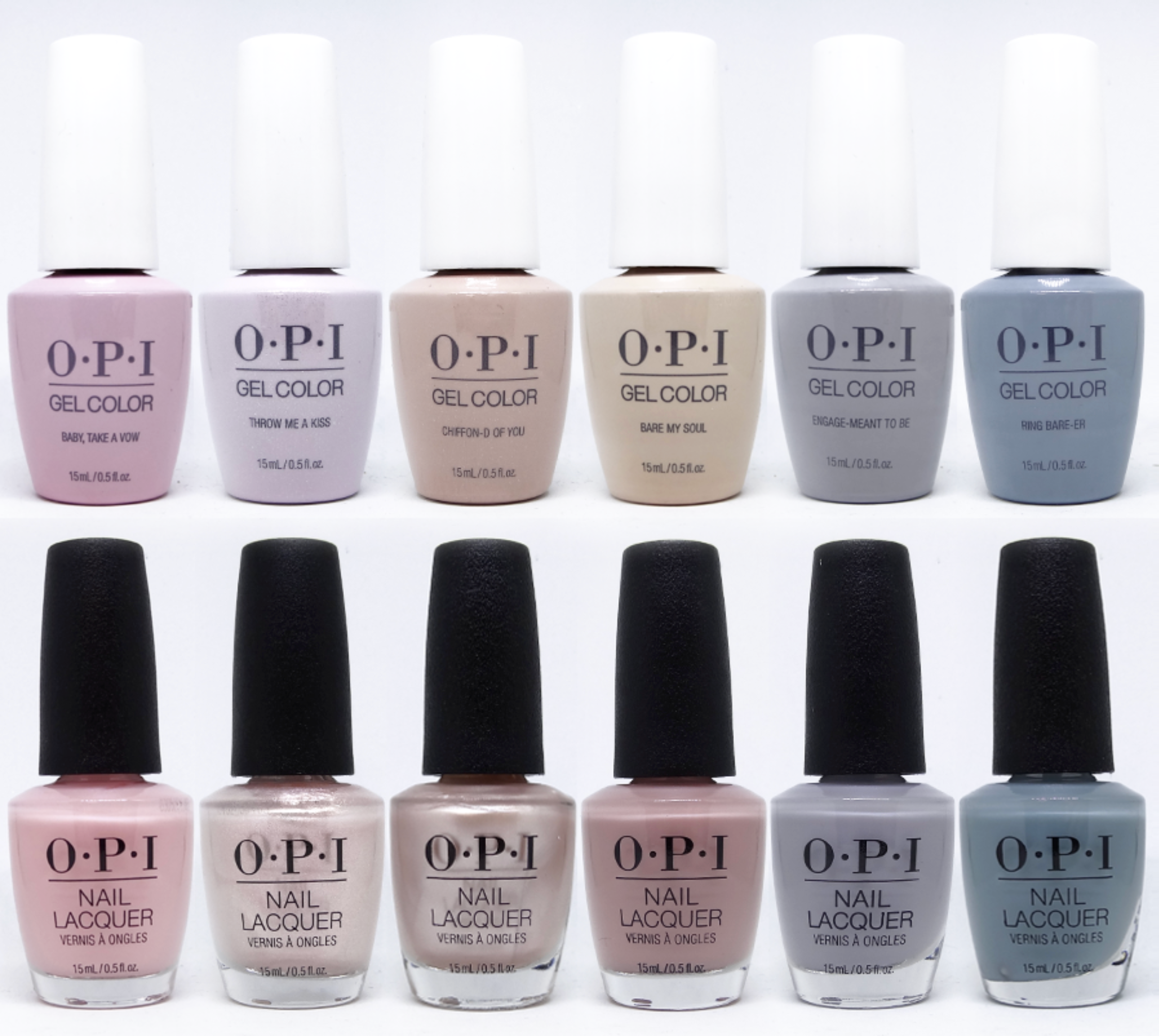 OPI Gel color  & regular lacquer - Spring 2019 - Always Bare for You Collection - 6 Colors