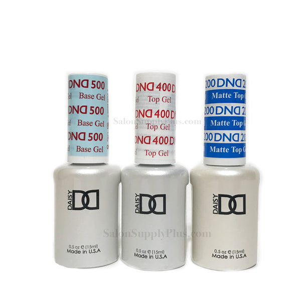 DND Gel Base Coat, Top Coat, & Matte Top Coat .5 fl oz