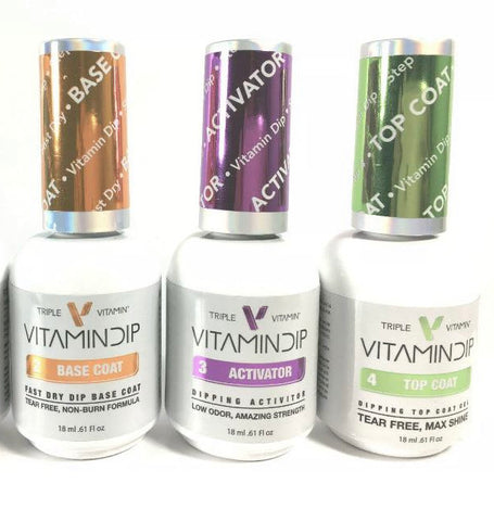 Triple Vitamin Dip TREATMENT SET for Dip Powder - (BASE, ACTIVATOR, TOP COAT)