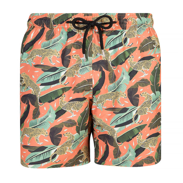 Men's Swim Trunks - Papaya Prowling Leopard