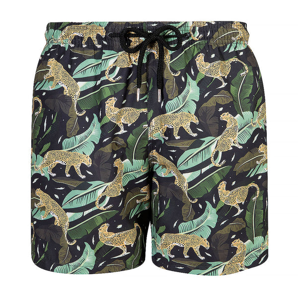 Mens Swim Trunks - Midnight Prowling Leopard