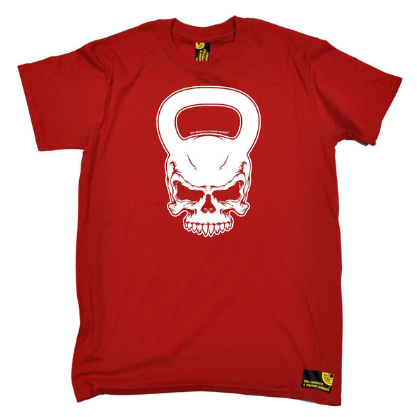 Sex Weights and Protein Shakes Gym Bodybuilding Tee - Kettlebell Skull - Mens T-Shirt