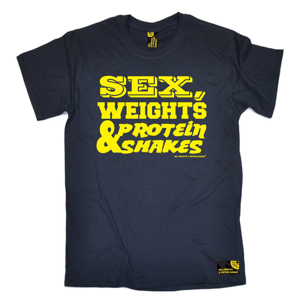 Sex Weights and Protein Shakes Gym Bodybuilding Tee - D1 Yellow Sex Weights Protein Shakes - Mens T-Shirt