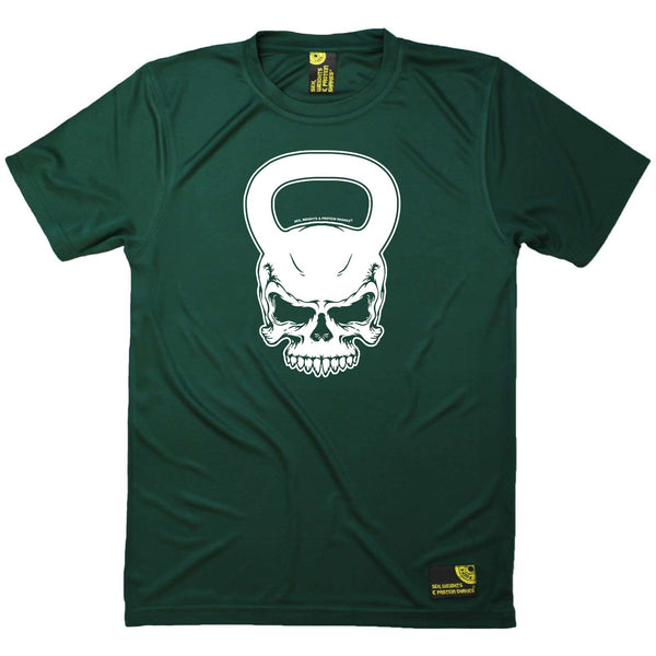 Sex Weights and Protein Shakes Gym Bodybuilding Tee - Kettlebell Skull - Dry Fit Performance T-Shirt
