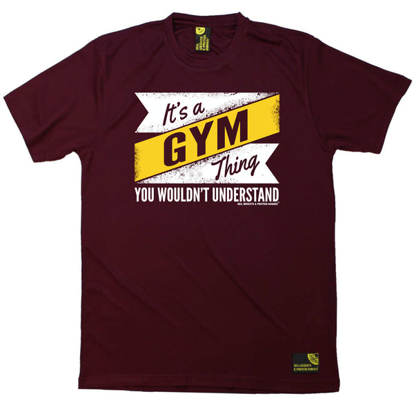 Sex Weights and Protein Shakes Gym Bodybuilding Tee - Its A Gym Thing - Dry Fit Performance T-Shirt