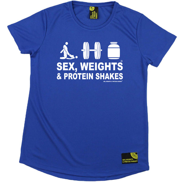 Sex Weights and Protein Shakes Gym Bodybuilding Ladies Tee - D3 Sex Weights Protein Shakes - Round Neck Dry Fit Performance T-Shirt