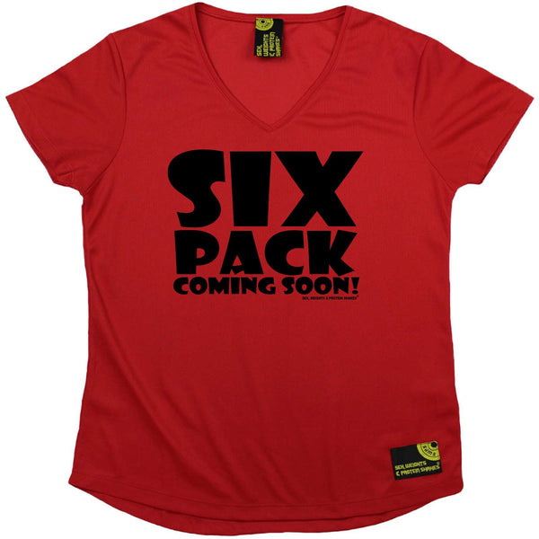 Sex Weights and Protein Shakes Womens Gym Bodybuilding Tee - Black Six Pack Coming Soon - V Neck Dry Fit Performance T-Shirt