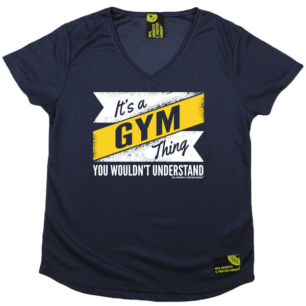Sex Weights and Protein Shakes Womens Gym Bodybuilding Tee - Its A Gym Thing - V Neck Dry Fit Performance T-Shirt