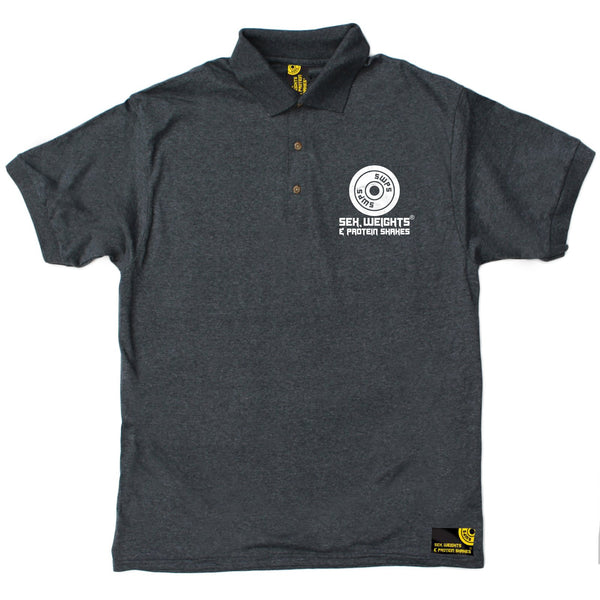 FB Sex Weights and Protein Shakes Gym Bodybuilding Polo Shirt - Eat Sleep Train - Polo T-Shirt