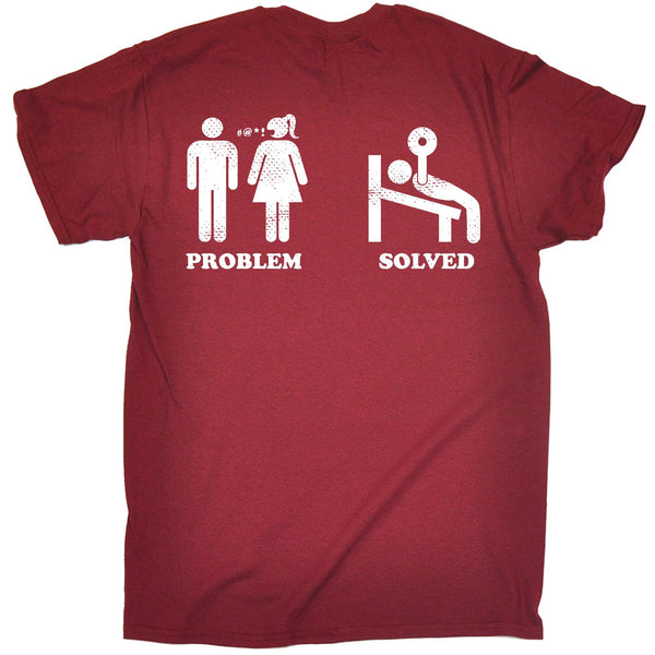 FB Sex Weights and Protein Shakes Gym Bodybuilding Tee - Problem Solved - Mens T-Shirt