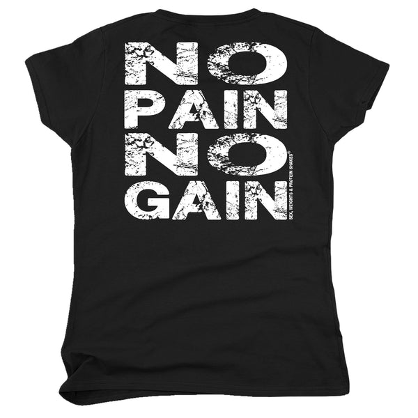 FB Sex Weights and Protein Shakes Gym Bodybuilding Tee - No Pain No Gain -  Womens Fitted Cotton T-Shirt Top T Shirt