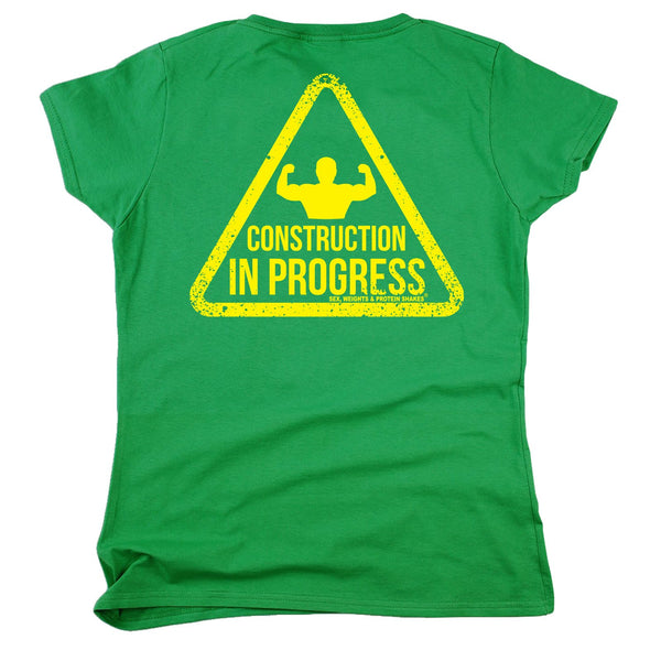 FB Sex Weights and Protein Shakes Gym Bodybuilding Tee - Construction In Progress -  Womens Fitted Cotton T-Shirt Top T Shirt