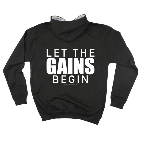 FB Sex Weights and Protein Shakes Gym Bodybuilding Tee - Let The Gains Begin -  Womens Fitted Cotton T-Shirt Top T Shirt