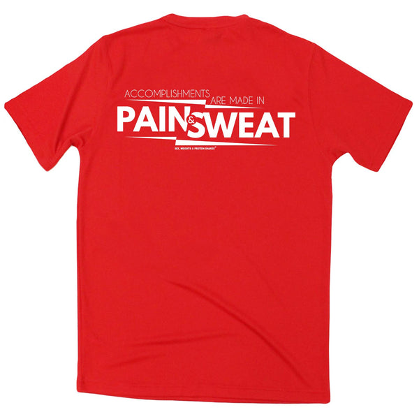 FB Sex Weights and Protein Shakes Gym Bodybuilding Tee - Pain And Sweat Accomplishments - Dry Fit Performance T-Shirt