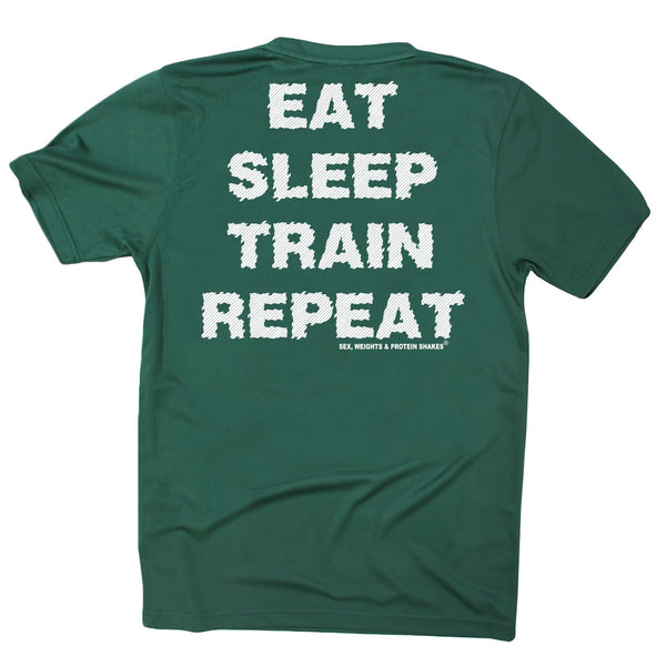 FB Sex Weights and Protein Shakes Gym Bodybuilding Tee - Eat Sleep Train - Dry Fit Performance T-Shirt