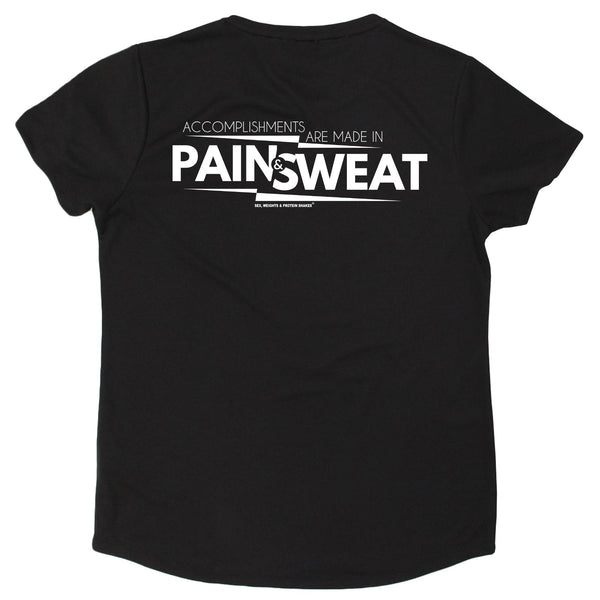FB Sex Weights and Protein Shakes Gym Bodybuilding Ladies Tee - Pain And Sweat Accomplishments - Round Neck Dry Fit Performance T-Shirt