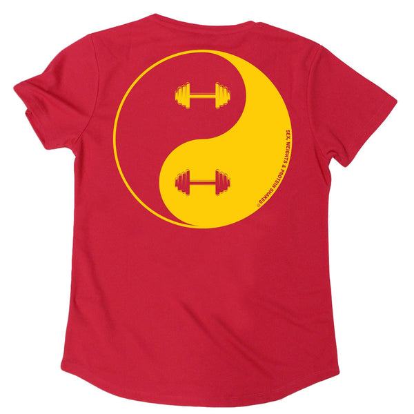 FB Sex Weights and Protein Shakes Womens Gym Bodybuilding Tee - Dumbell Yin Yang - V Neck Dry Fit Performance T-Shirt
