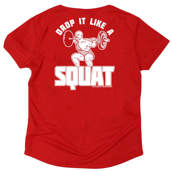 FB Sex Weights and Protein Shakes Womens Gym Bodybuilding Tee - Drop It Like A Squat - V Neck Dry Fit Performance T-Shirt