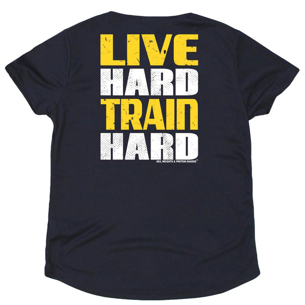 FB Sex Weights and Protein Shakes Womens Gym Bodybuilding Tee - Live Hard Train Hard - V Neck Dry Fit Performance T-Shirt