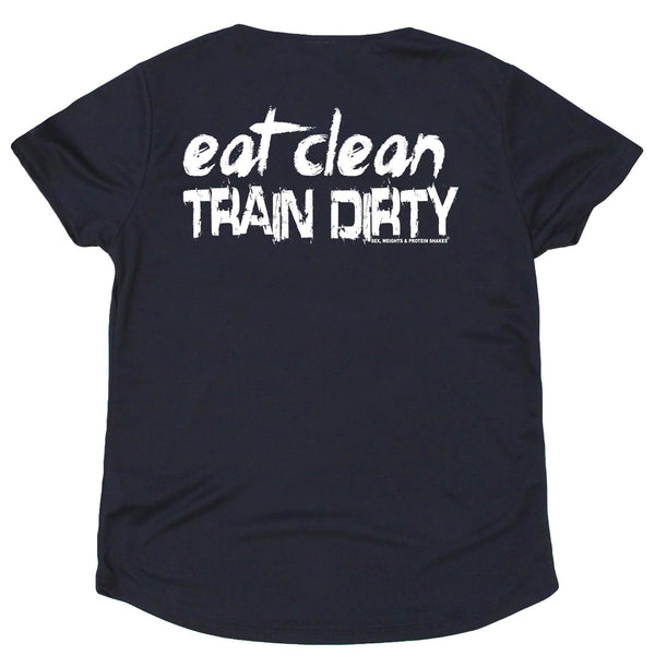 FB Sex Weights and Protein Shakes Womens Gym Bodybuilding Tee - Eat Clean Train Dirty - V Neck Dry Fit Performance T-Shirt