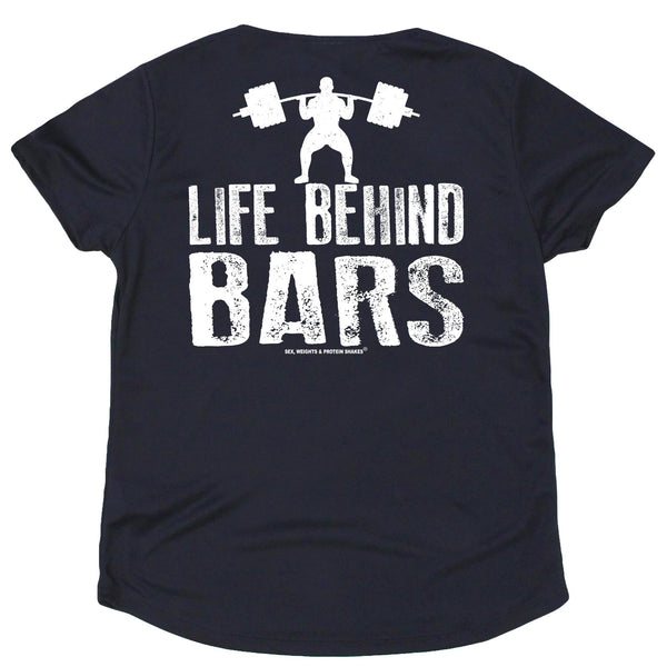 FB Sex Weights and Protein Shakes Womens Gym Bodybuilding Tee - Life Behind Bars - V Neck Dry Fit Performance T-Shirt
