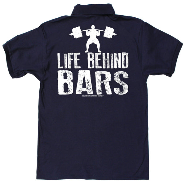 FB Sex Weights and Protein Shakes Gym Bodybuilding Polo Shirt - Life Behind Bars - Polo T-Shirt