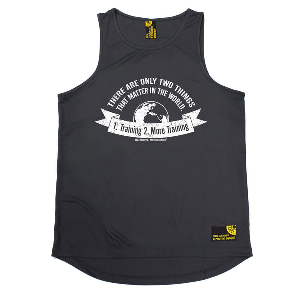 SWPS Two Things Training More Training Sex Weights And Protein Shakes Gym Men's Training Vest