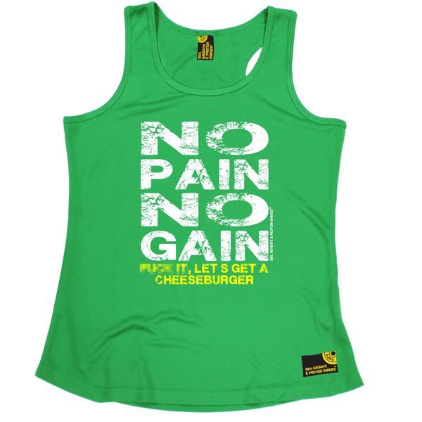 No Pain No Gain ... Get A Cheeseburger Girlie Performance Training Cool Vest