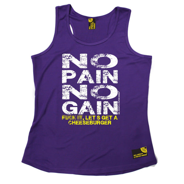 Sex Weights and Protein Shakes GYM Training Body Building -  No Pain No Gain ... Get A Cheeseburger - GIRLIE PERFORMANCE COOL VEST - SWPS Fitness Gifts