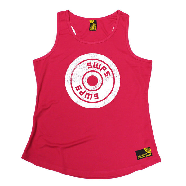 SWPS Weight Plate Big Logo Design Sex Weights And Protein Shakes Gym Girlie Training Vest