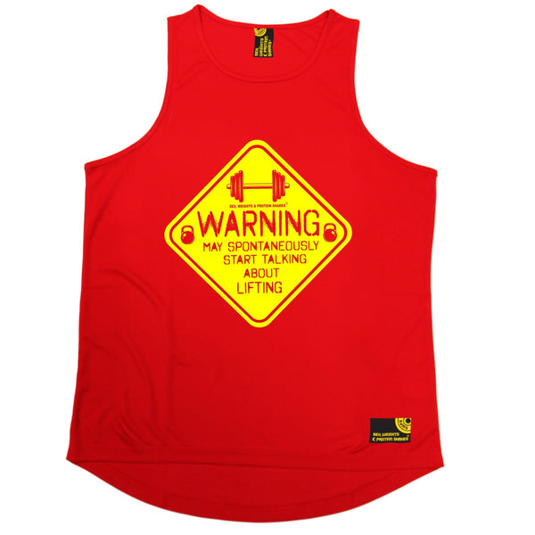 SWPS Warning Start Talking About Lifting Sex Weights And Protein Shakes Gym Men's Training Vest