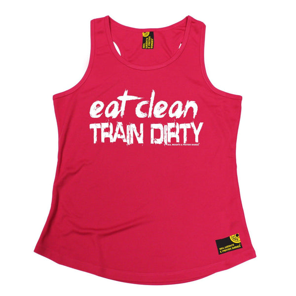 SWPS Eat Clean Train Dirty Sex Weights And Protein Shakes Gym Girlie Training Vest