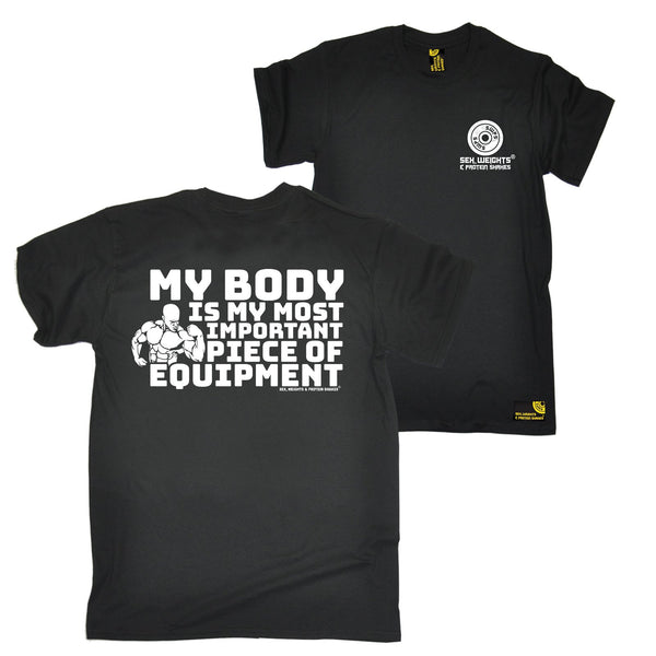 FB Sex Weights and Protein Shakes Gym Bodybuilding Tee - My Body Equipment - Mens T-Shirt