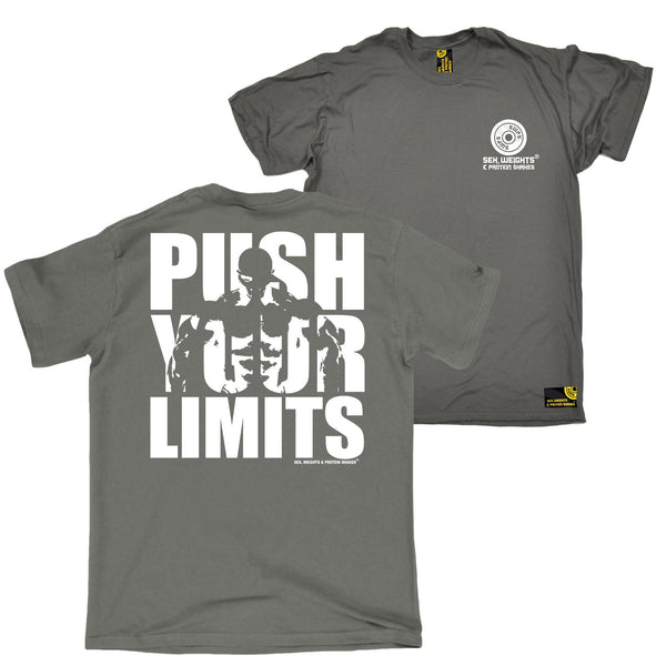 FB Sex Weights and Protein Shakes Gym Bodybuilding Tee - Push Your Limits - Mens T-Shirt