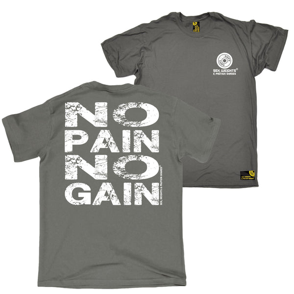 FB Sex Weights and Protein Shakes Gym Bodybuilding Tee - No Pain No Gain - Mens T-Shirt