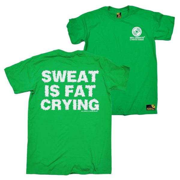 FB Sex Weights and Protein Shakes Gym Bodybuilding Tee - Sweat Is Fat Crying - Mens T-Shirt