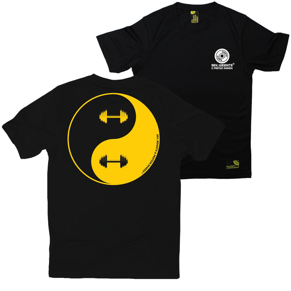 FB Sex Weights and Protein Shakes Gym Bodybuilding Tee - Dumbell Yin Yang - Dry Fit Performance T-Shirt