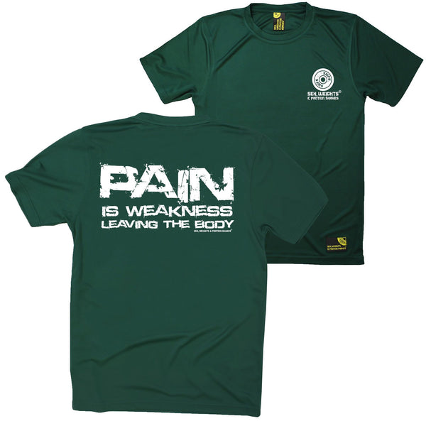 FB Sex Weights and Protein Shakes Gym Bodybuilding Tee - Pain Is Weakness - Dry Fit Performance T-Shirt