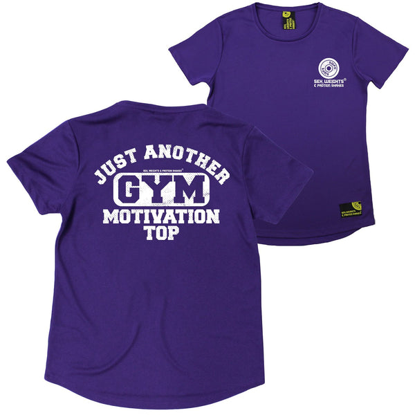 FB Sex Weights and Protein Shakes Gym Bodybuilding Ladies Tee - Just Another Gym Motivational Top - Round Neck Dry Fit Performance T-Shirt