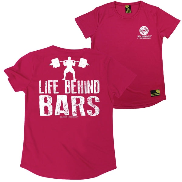 FB Sex Weights and Protein Shakes Gym Bodybuilding Ladies Tee - Life Behind Bars - Round Neck Dry Fit Performance T-Shirt