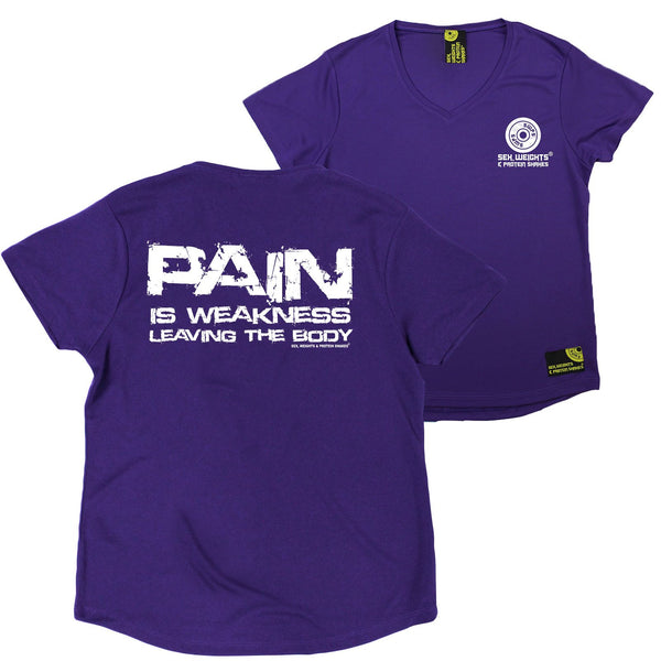 FB Sex Weights and Protein Shakes Womens Gym Bodybuilding Tee - Pain Is Weakness - V Neck Dry Fit Performance T-Shirt